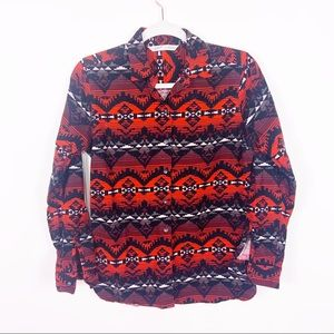 Woolrich Aztec Boho Red Black Button Up Top SM